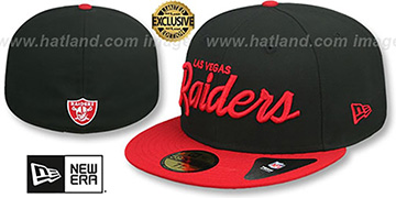 Raiders NFL TEAM-SCRIPT Black-Red Fitted Hat by New Era
