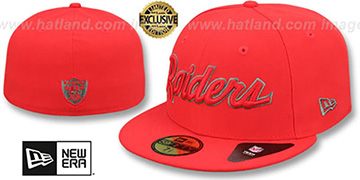 Raiders 'NFL TEAM-SCRIPT' Fire Red-Fire Red Fitted Hat by New Era