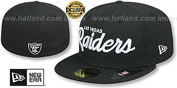 Raiders NFL TEAM-SCRIPT Heather Black Fitted Hat by New Era