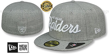 Raiders NFL TEAM-SCRIPT Heather Grey Fitted Hat by New Era