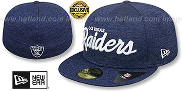 Raiders NFL TEAM-SCRIPT Light Navy Shadow Tech Fitted Hat by New Era