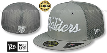 Raiders NFL TEAM-SCRIPT MESH-BACK Grey-Grey Fitted Hat by New Era