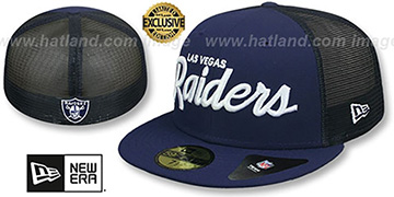 Raiders NFL TEAM-SCRIPT MESH-BACK Navy-Navy Fitted Hat by New Era