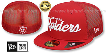 Raiders NFL TEAM-SCRIPT MESH-BACK Red-Red Fitted Hat by New Era