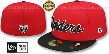 Raiders 'NFL TEAM-SCRIPT' Red-Black Fitted Hat by New Era