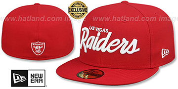 Raiders NFL TEAM-SCRIPT Red Fitted Hat by New Era