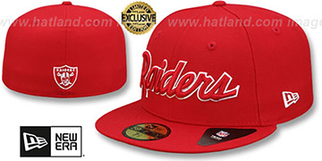 Raiders 'NFL TEAM-SCRIPT' Red-Red Fitted Hat by New Era