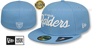 Raiders NFL TEAM-SCRIPT Sky Fitted Hat by New Era