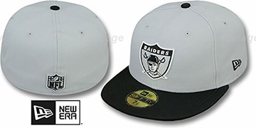 Raiders 'NFL THROWBACK JERSEY-BASIC' Grey-Black Fitted Hat by New Era