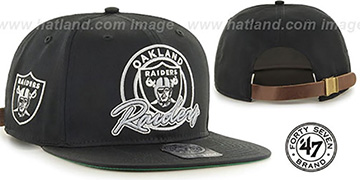 Raiders 'NFL VIRAPIN STRAPBACK' Black Hat by Twins 47 Brand