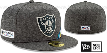 Raiders ONFIELD CRUCIAL CATCH Grey Fitted Hat by New Era