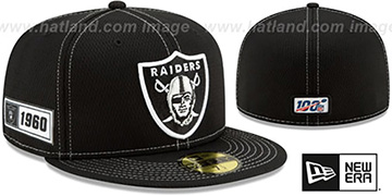 Raiders ONFIELD SIDELINE ROAD Black Fitted Hat by New Era
