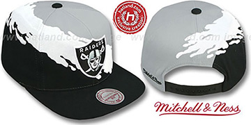 Raiders 'PAINTBRUSH SNAPBACK' Grey-White-Black Hat by Mitchell and Ness