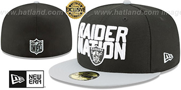 Raiders 'RAIDER-NATION' Black-Grey Fitted Hat by New Era