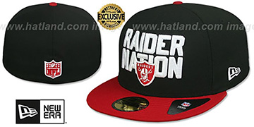 Raiders RAIDER-NATION Black-Red Fitted Hat by New Era