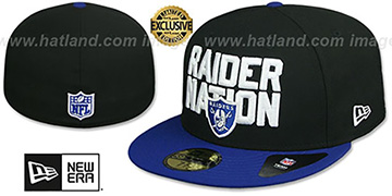 Raiders RAIDER-NATION Black-Royal Fitted Hat by New Era