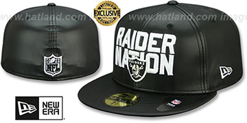 Raiders RAIDER-NATION LEATHER Black Fitted Hat by New Era