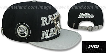 Raiders 'RAIDER-NATION METAL-BADGE STRAPBACK' Black-Grey Hat by Pro Standard