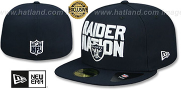 Raiders RAIDER-NATION Navy-White Fitted Hat by New Era