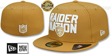 Raiders 'RAIDER-NATION' Panama Tan-White Fitted Hat by New Era
