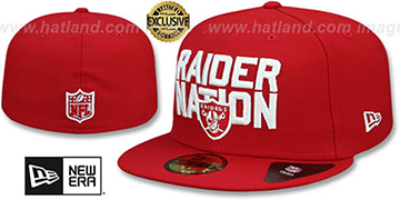 Raiders RAIDER-NATION Red-White Fitted Hat by New Era