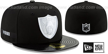 Raiders RETRO-HOOK Black-White Fitted Hat by New Era