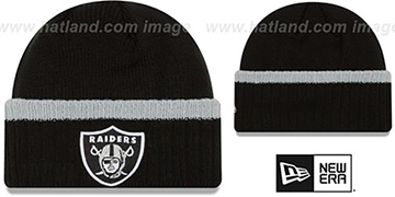 Raiders 'RIBBED-UP' Black Knit Beanie Hat by New Era