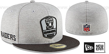 Raiders ROAD ONFIELD STADIUM Grey-Black Fitted Hat by New Era