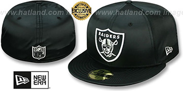 Raiders 'SATIN BASIC' Black Fitted Hat by New Era