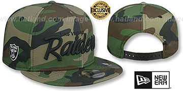 Raiders SCRIPT TEAM-BASIC SNAPBACK Army Camo Hat by New Era