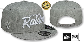 Raiders SCRIPT TEAM-BASIC SNAPBACK Heather Light Grey Hat by New Era