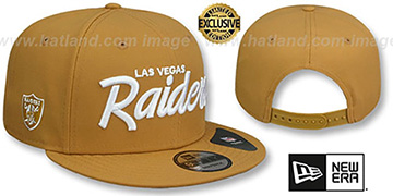 Raiders SCRIPT TEAM-BASIC SNAPBACK Panama Tan Hat by New Era