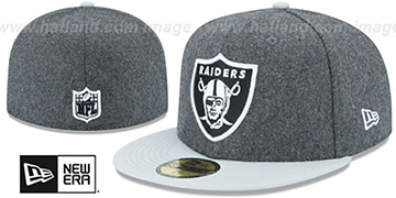 Raiders SHADER MELTON Grey-Grey Fitted Hat by New Era