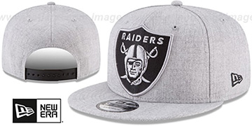 Raiders SILKED-XL SNAPBACK Heather Light Grey Hat by New Era