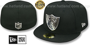 Raiders SILVER METAL-BADGE Black Fitted Hat by New Era