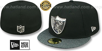 Raiders 'SILVER METAL-BADGE' Black-Shadow Tech Fitted Hat by New Era