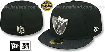 Raiders 'SILVER METAL-BADGE 2' Black-Shadow Tech Fitted Hat by New Era