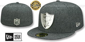 Raiders 'SILVER METAL-BADGE' Melton Grey Fitted Hat by New Era