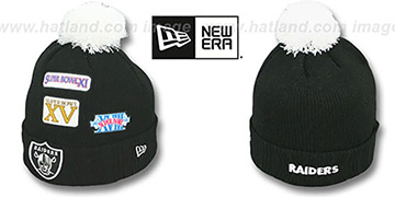 Raiders SUPER BOWL PATCHES Black Knit Beanie Hat by New Era
