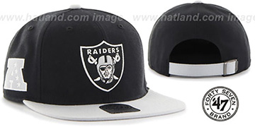 Raiders 'SUPER-SHOT STRAPBACK' Black-Grey Hat by Twins 47 Brand