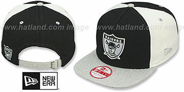Raiders TB 'TRIPLE MELTON STRAPBACK' Black-White-Grey Hat by New Era