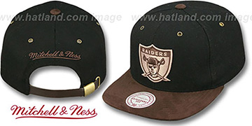 Raiders TC-BROWN SUEDE STRAPBACK Hat Mitchell and Ness