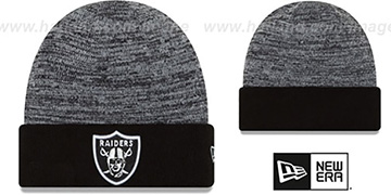 Raiders TEAM-RAPID Black-White Knit Beanie Hat by New Era