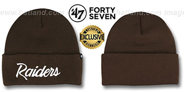 Raiders TEAM-SCRIPT Brown-White Knit Beanie Hat by Twins 47 Brand