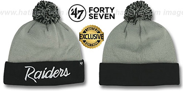 Raiders TEAM-SCRIPT POM Grey-Black Knit Beanie Hat by Twins 47 Brand