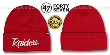 Raiders TEAM-SCRIPT Red-White Knit Beanie Hat by Twins 47 Brand