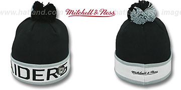 Raiders THE-BUTTON Knit Beanie Hat by Michell & Ness