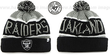 Raiders THE-CALGARY Black-Grey Knit Beanie Hat by Twins 47 Brand