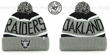 Raiders THE-CALGARY Grey-Black Knit Beanie Hat by Twins 47 Brand