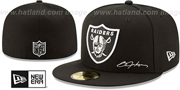 Raiders THROWBACK JACKSON STATS Black Fitted Hat by New Era